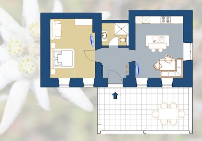 Gletscher Apartment - ground plan Edelweiss